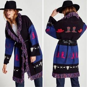 Zara Western Cowboy Jacquard Fringe Sweater Coat N